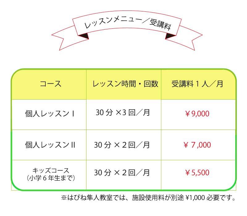 レッスンメニュー/受講料
